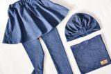 Turban dvojvrstvový jeans melír