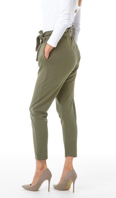Nohavice HIGH RISE olivové dámske